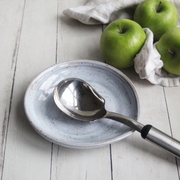 Image of Large Spoon Rest in Milky White Glaze, Speckled Stoneware Utensil Dish, Made in USA