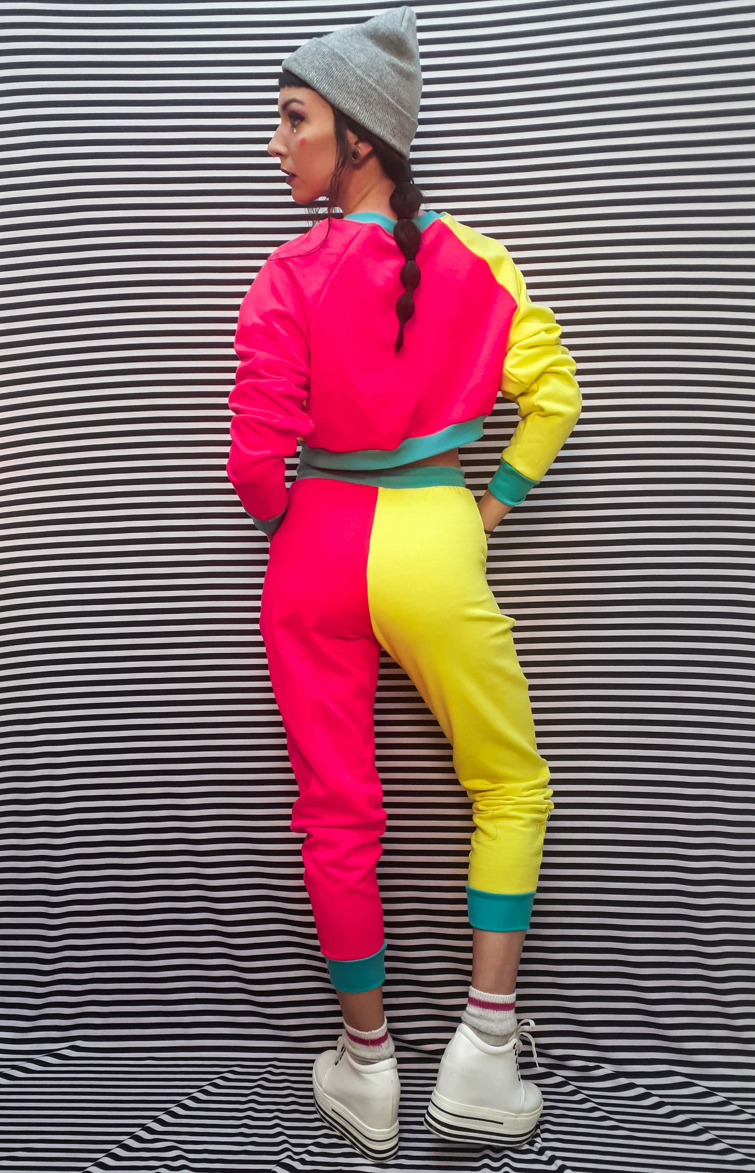 Image of Custom Block Colour High Waist and Crop Sweatsuit