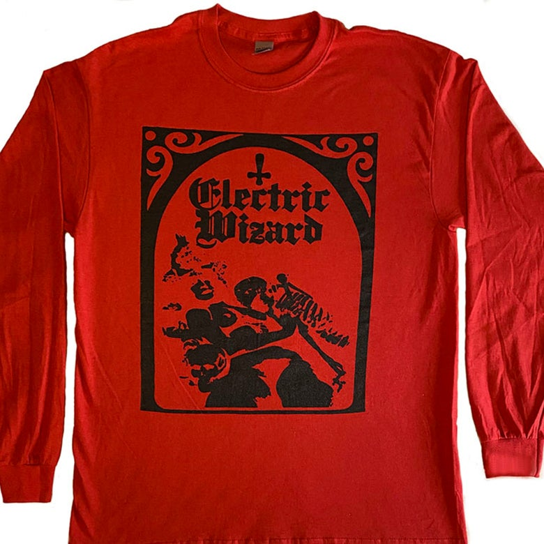 "Image of Electric Wizard "" Legalise Drugs and Murders ""  Red - Long Sleeve T shirt"