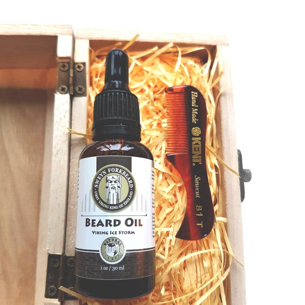 Image of Beard Oil + Beard & Moustache Comb Wooden Box