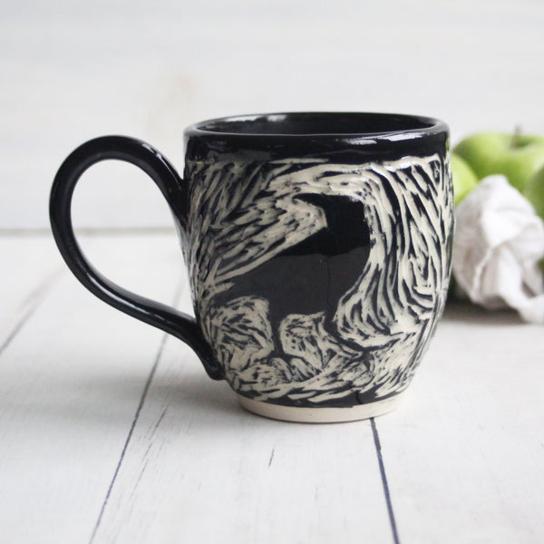 Image of Black Crow Sgraffito Mug, Hand Carved Raven Coffee Cup, 13 oz., Made in USA