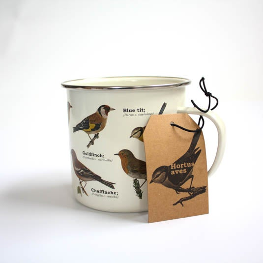 Image of Garden Birds Print Enamel Tin Mug