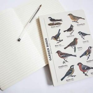 Image of Garden Birds Print A5 Lined Notebook
