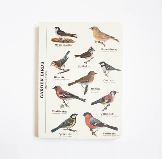 Image of Garden Birds Print A5 Lined Notebook