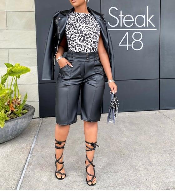 Image of Leather Bermuda Shorts