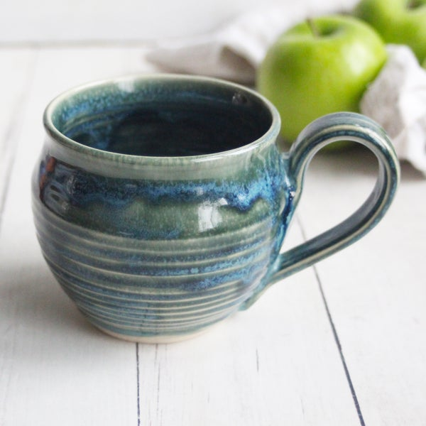 Image of Handmade Mug in Blue Green Glazes, 14 ounce Pottery Coffee Cup, Made in USA