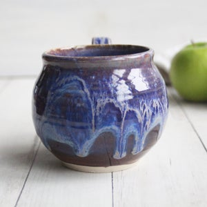 Image of Gorgeous Pottery Mug in Bright Purple, Blue and Mauve Glazes, 15 oz. Coffee Cup, Made in USA