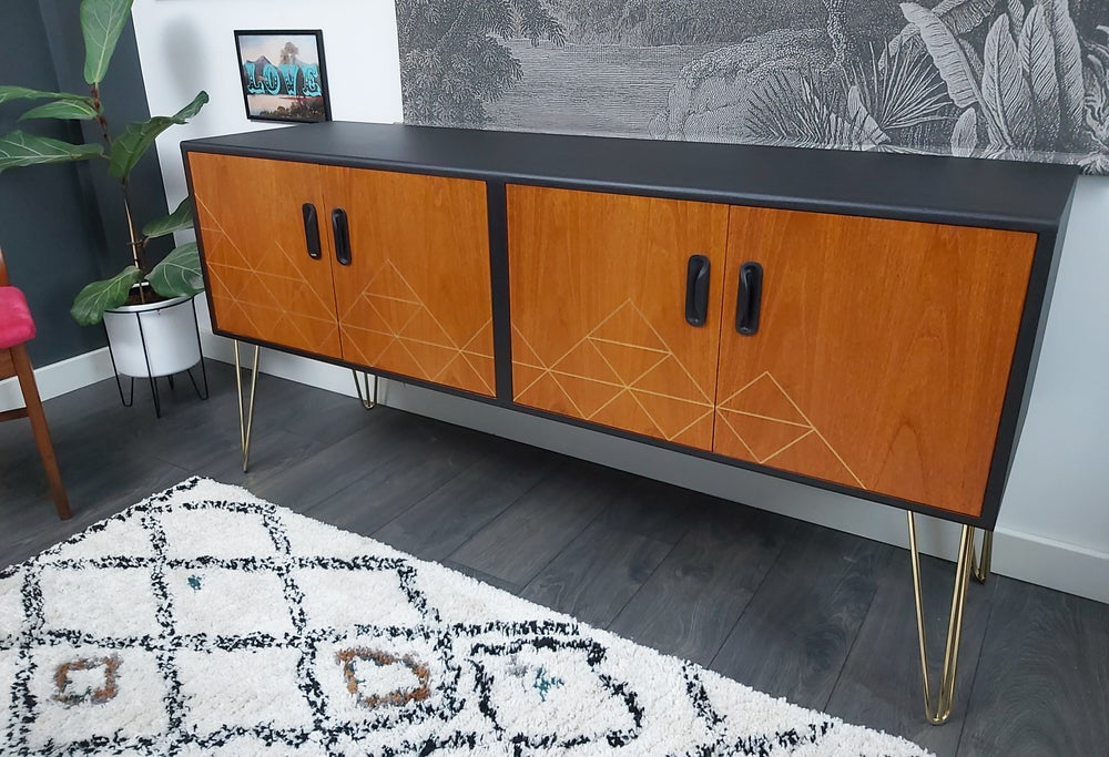 Image of •RESTYLED TO ORDER• G PLAN FRESCO SIDEBOARD WITH METALLIC GEOMETRICS