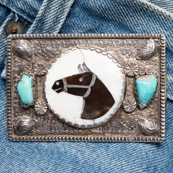 Image of Zuni Horse Head Belt Buckle by Isabel Simplicio  w Turquoise Nuggets on Sterling Silver