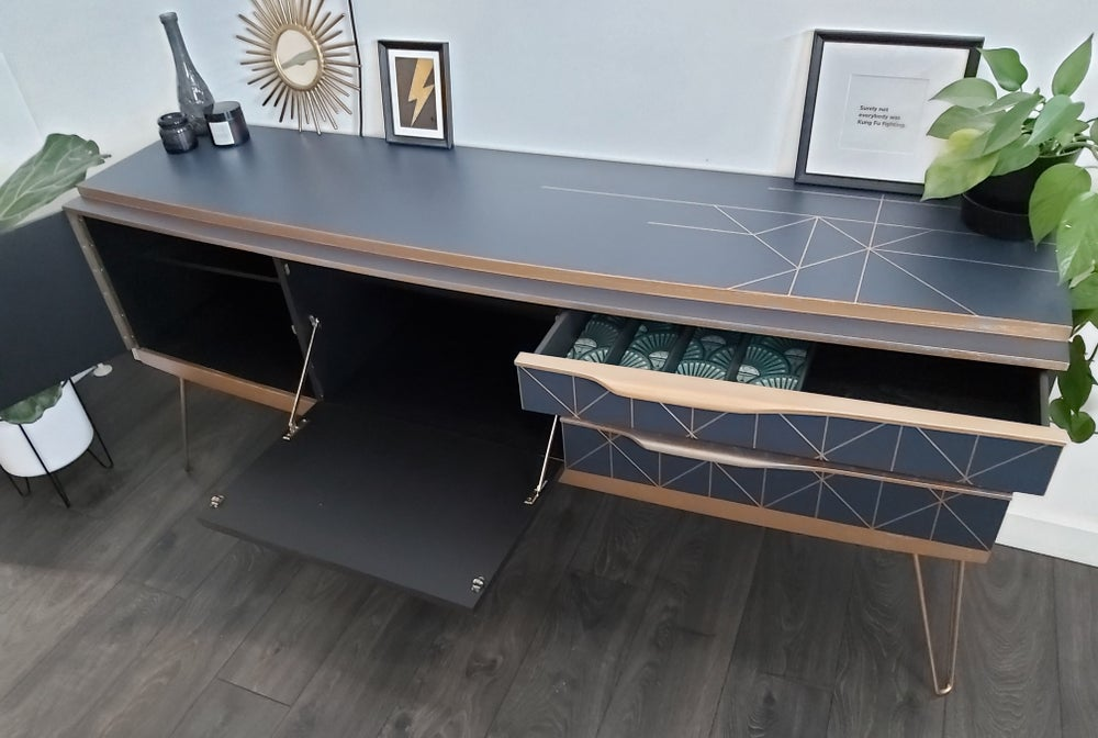 Image of BEAUTILITY CREDENZA IN MIDNIGHT BLUE & GOLD