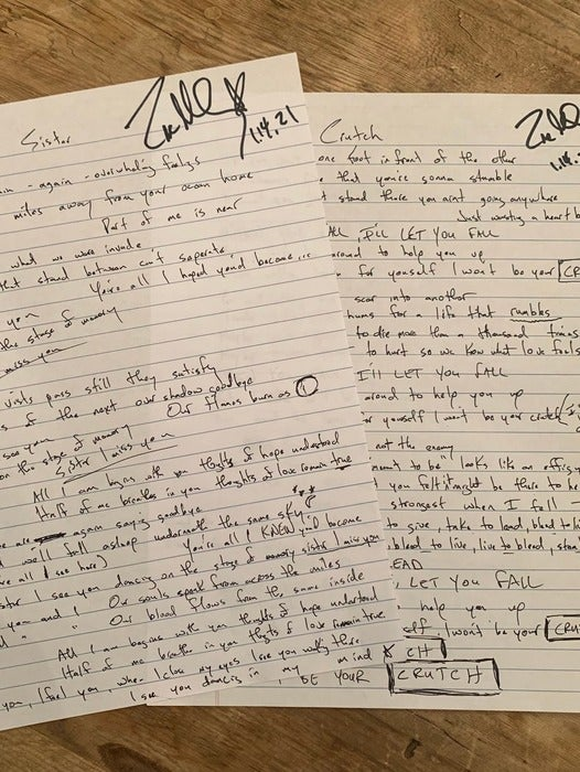 Image of One song handwritten lyric/signed