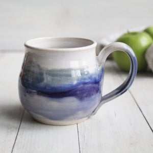 Image of Handmade Purple and White Mug, 14 oz. Stoneware Pottery Coffee Cup, Made in USA