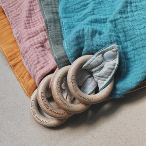 Image of Drool Cloth with Ring Teether - 4 colours/ hlc Exclusive