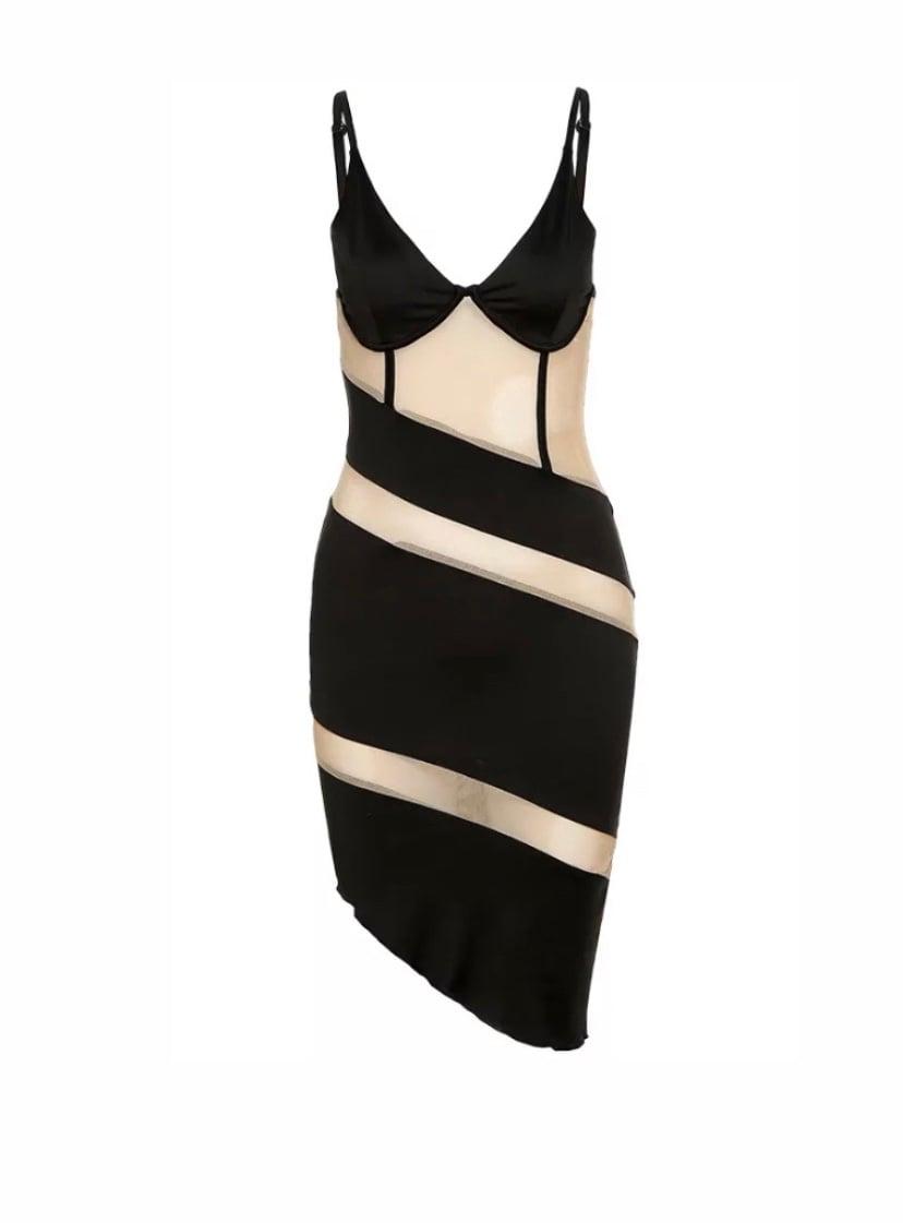 Image of Asymmetrical Mesh  Dress