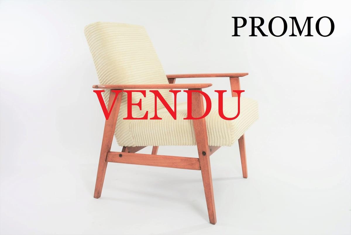 Image of Fauteuil FOX velours ivoire - piètement carré