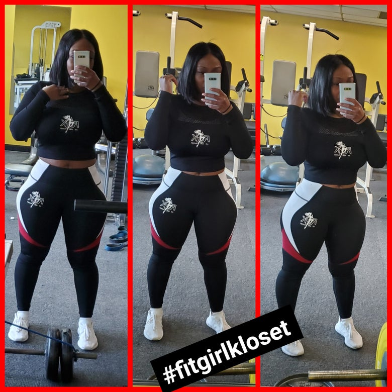 Image of Black/Red Colorblock Leggings