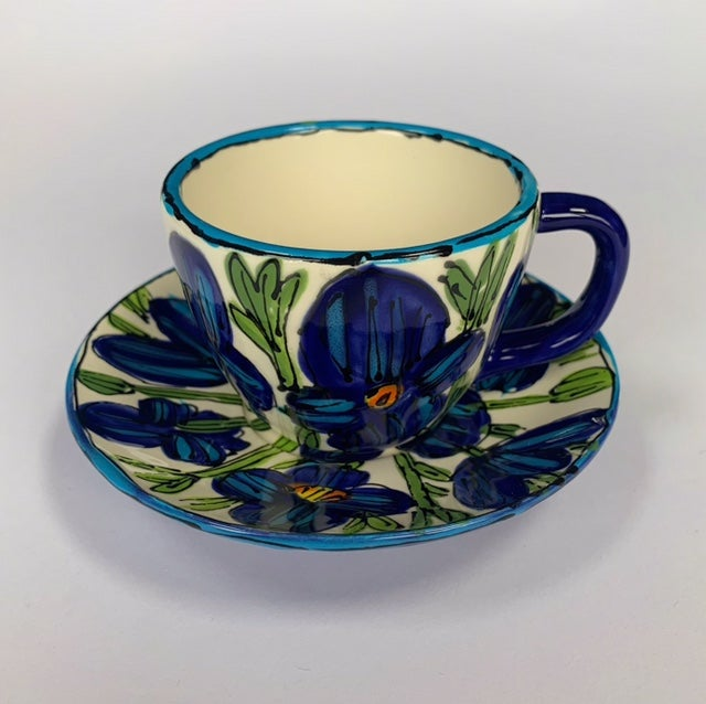 Image of Blue Poppies on White Expresso Cup with Saucer - ESC1 & ESC2