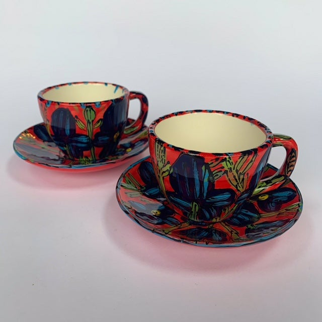 Image of Blue Poppies On Red Expresso Cup with Saucer - ESC5 & ESC6