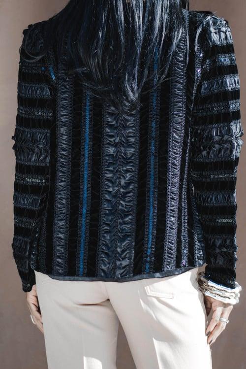 Image of Vintage Echelon Noir Satin/Sequins/Velvet Blazer