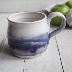 Image of Handmade Purple and White Mug, 15 oz. Stoneware Pottery Coffee Cup, Made in USA
