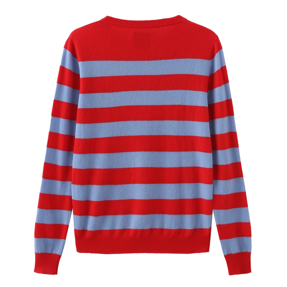 Crew Neck Intarsia Wool and Cashmere Blend Sweater - Red/Light Blue