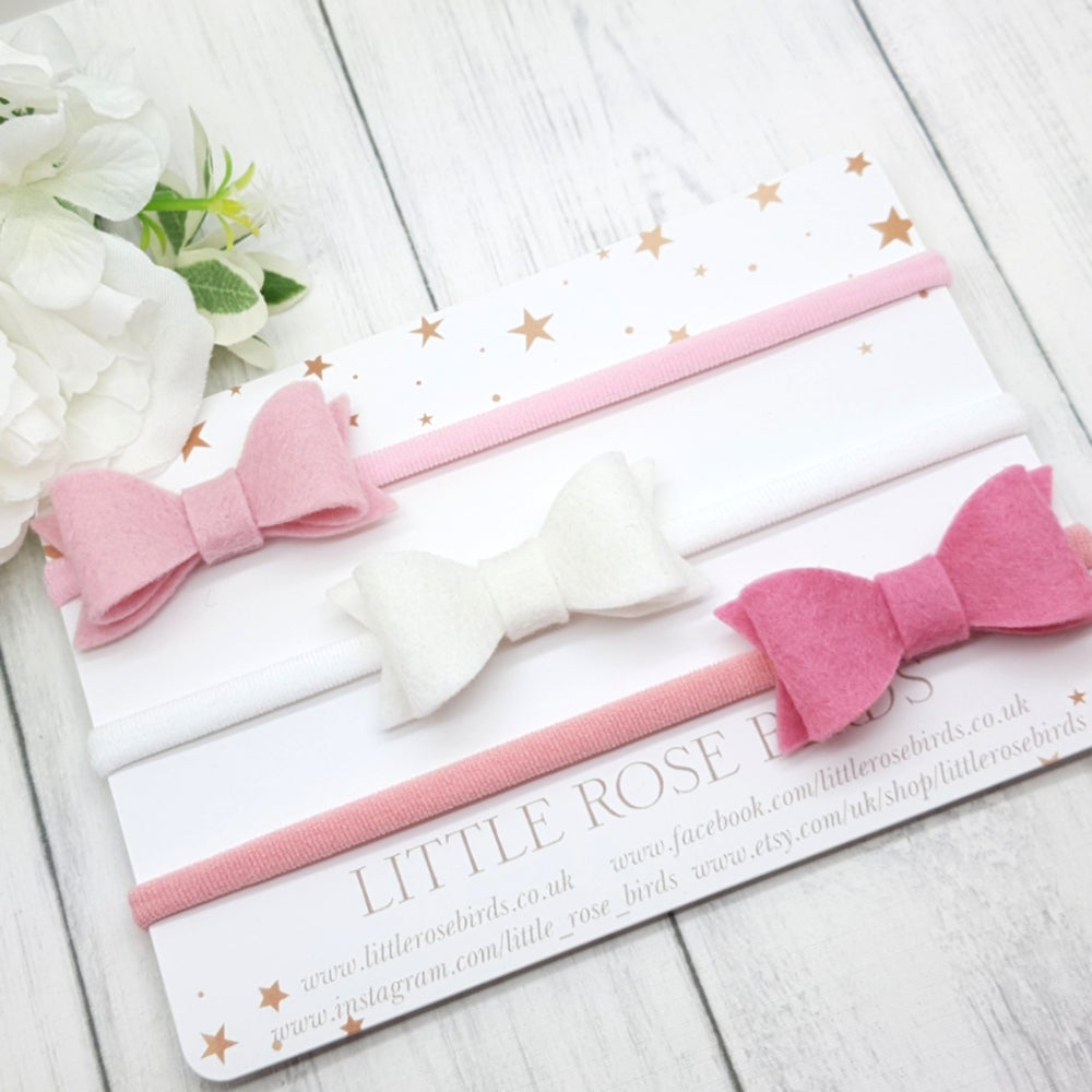 Image of Set of 3 Small Bows - Choice of Headband or Clip