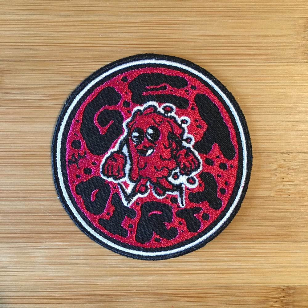 "Image of patch ""get dirty"" iron on"
