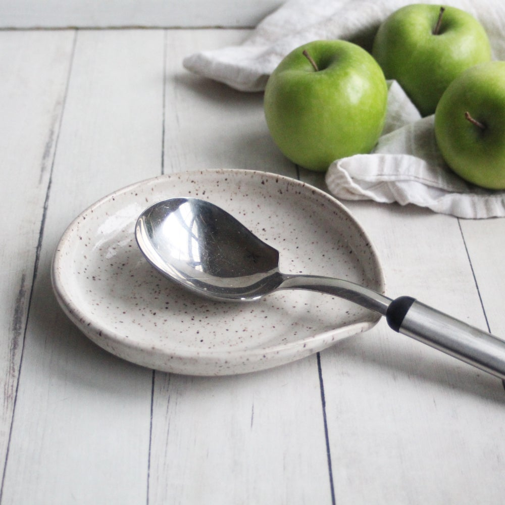 Image of Large Handmade Spoon Rest in Natural Beige Glaze, Speckled Pottery Utensil Plate, Made in USA