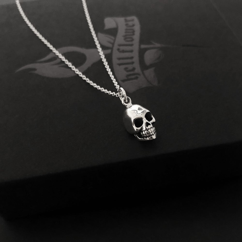 Image of Sterling silver skull necklace