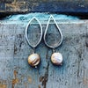 Hand made silver links earrings with button freshwater pearls