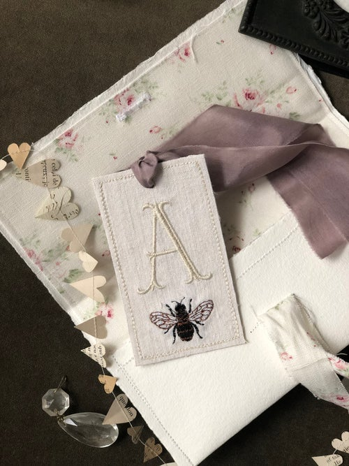 Image of New Monogram and Bee embroidered tag