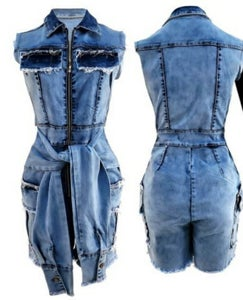 Image of Denim Short Romper