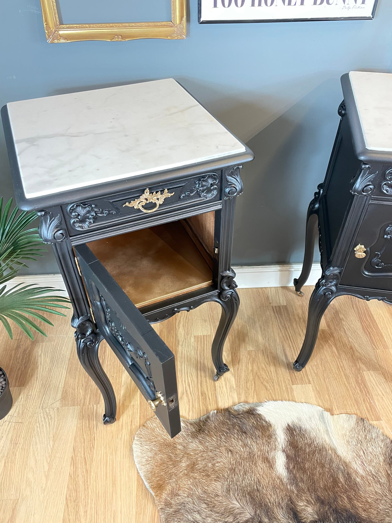 Image of Stunning black & gold French oak and marble bedside tables