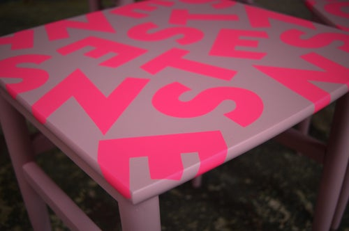 Image of Vintage Mid Century Nest of Tables Hot Neon Pink