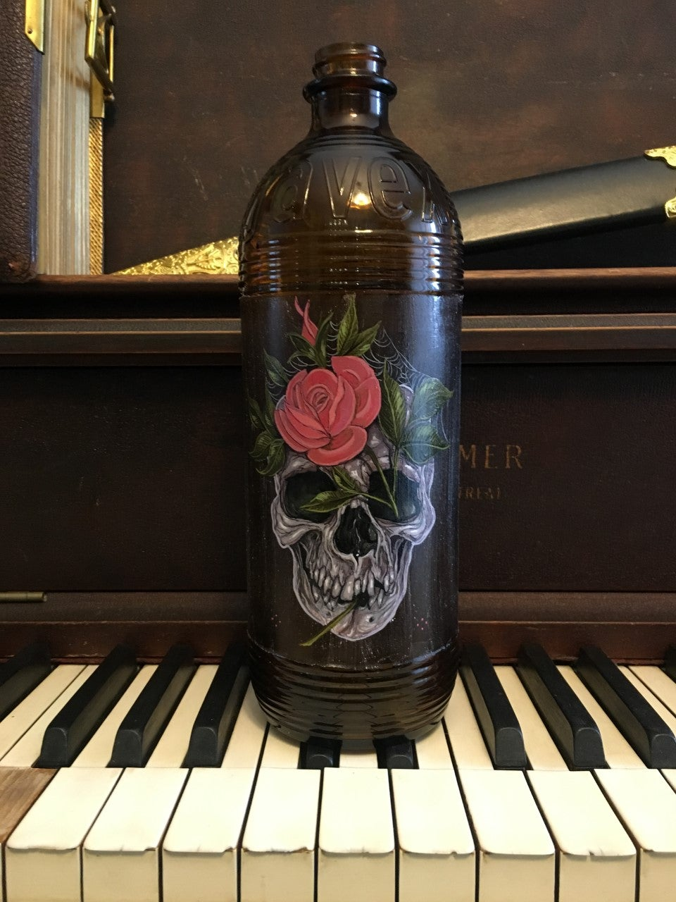 Image of Skull and Rose Vintage Bottle