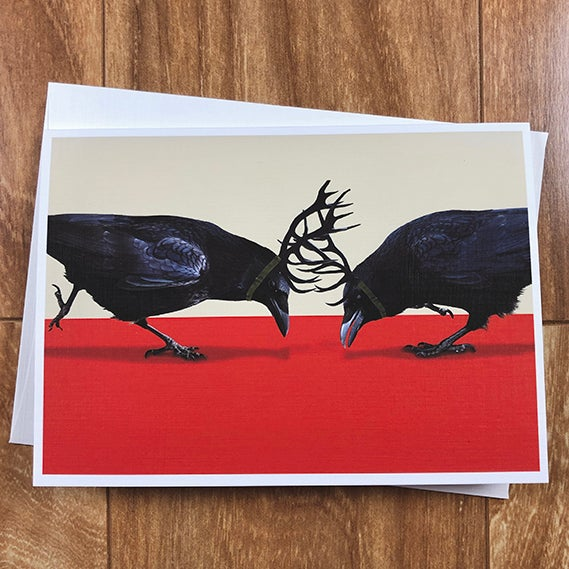 Image of Crow Fight - Greeting Card  - By David Holub