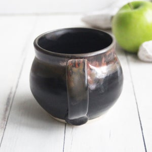 Image of Matte Black and Copper Glazed Pottery Mug, Handmade Stoneware Coffee Cup, Made in USa