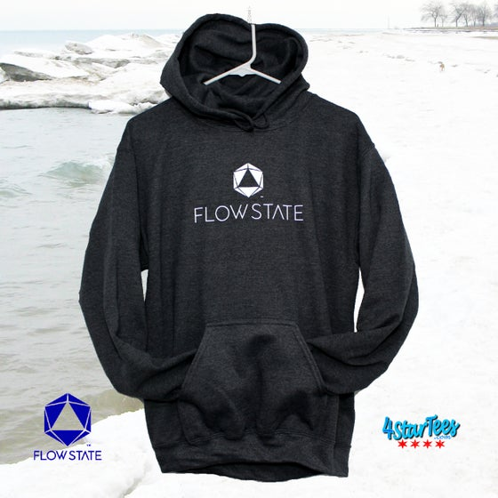 Image of FLOW STATE No-Zip Reflective Hoodie - Dark Heather