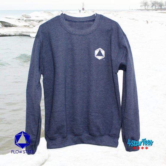 Image of FLOW STATE Crew Neck Reflective Sweatshirt - Heather Navy