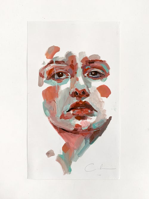 Image of copper and aquamarine portrait study