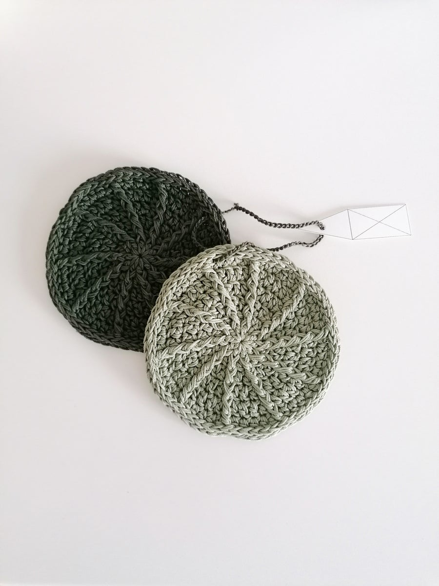 Image of Olive Green Coasters, Pair Of Two