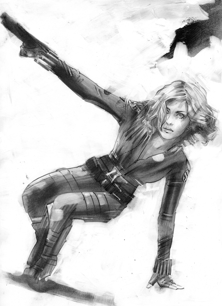 Image of ORIGINAL ART - BLACK WIDOW - NEW YORK NEW YORK HOTEL PRELIM