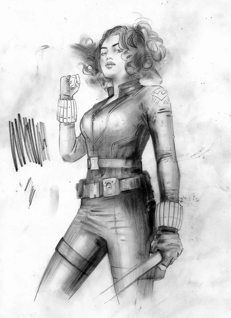 Image of ORIGINAL ART - BLACK WIDOW - NEW YORK NEW YORK HOTEL PRELIM 1