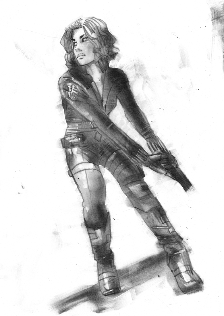 Image of ORIGINAL ART - BLACK WIDOW - NEW YORK NEW YORK HOTEL PRELIM 2