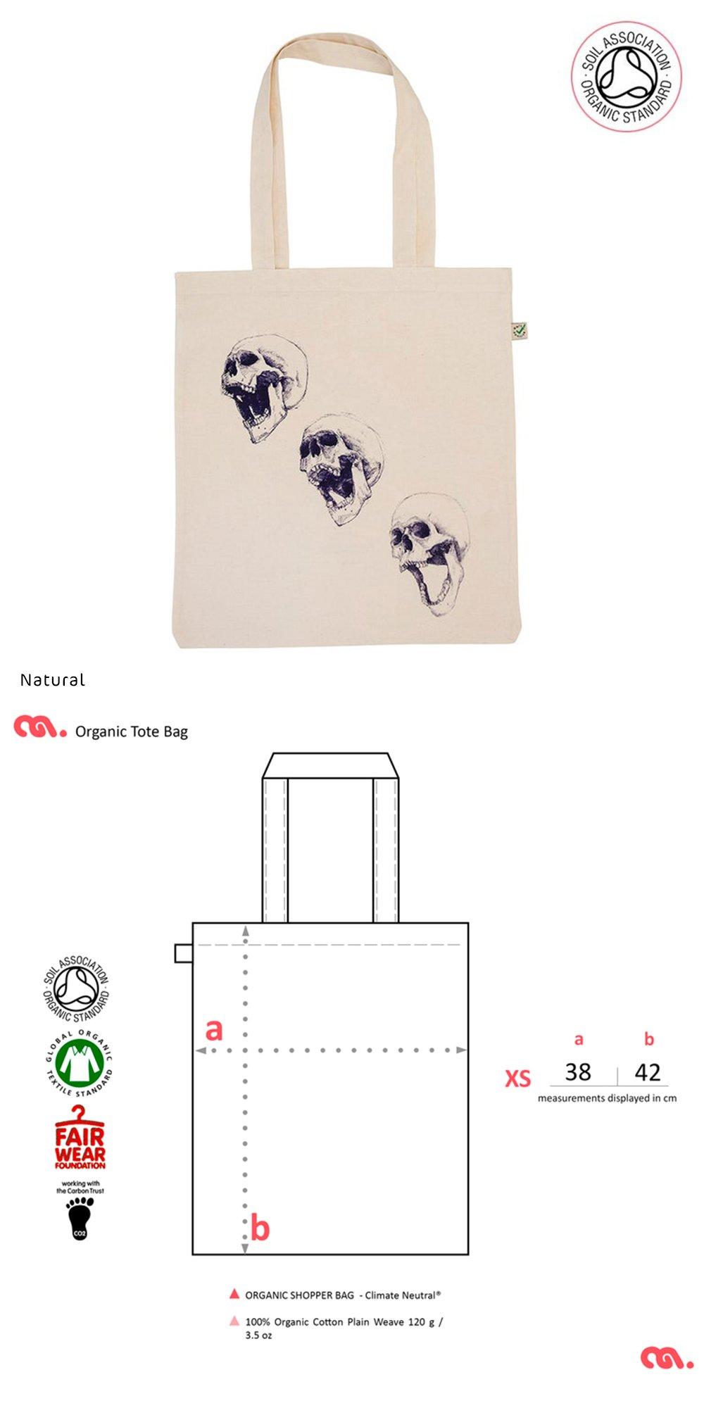3 Skull Tote Bag (Organic)