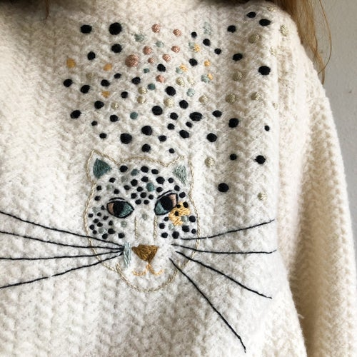 Image of The Cheetah - original hand embroidery on upcycled 100% wool sweater, one of a kind, oversized