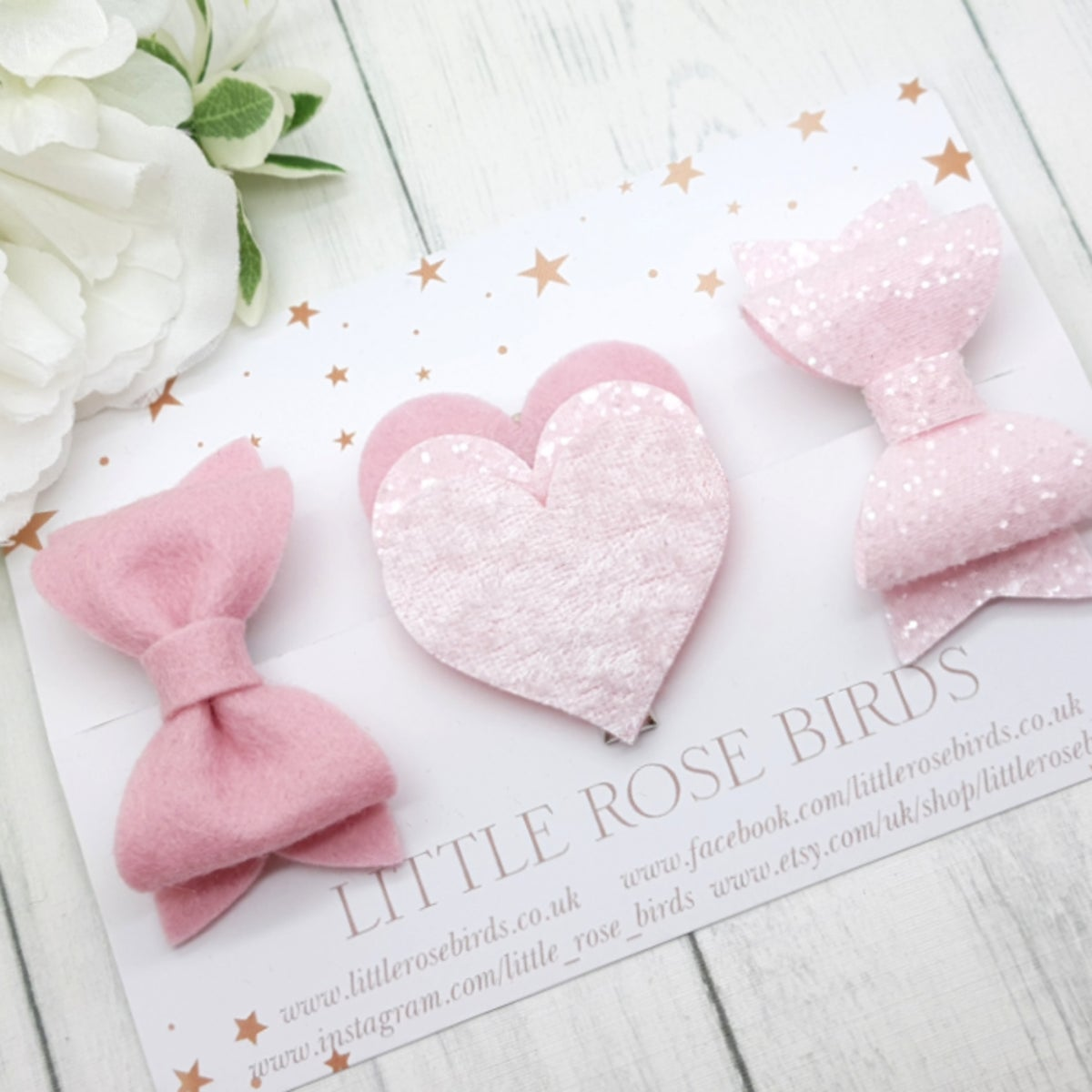 Image of Pink Valentines Heart Bow Set