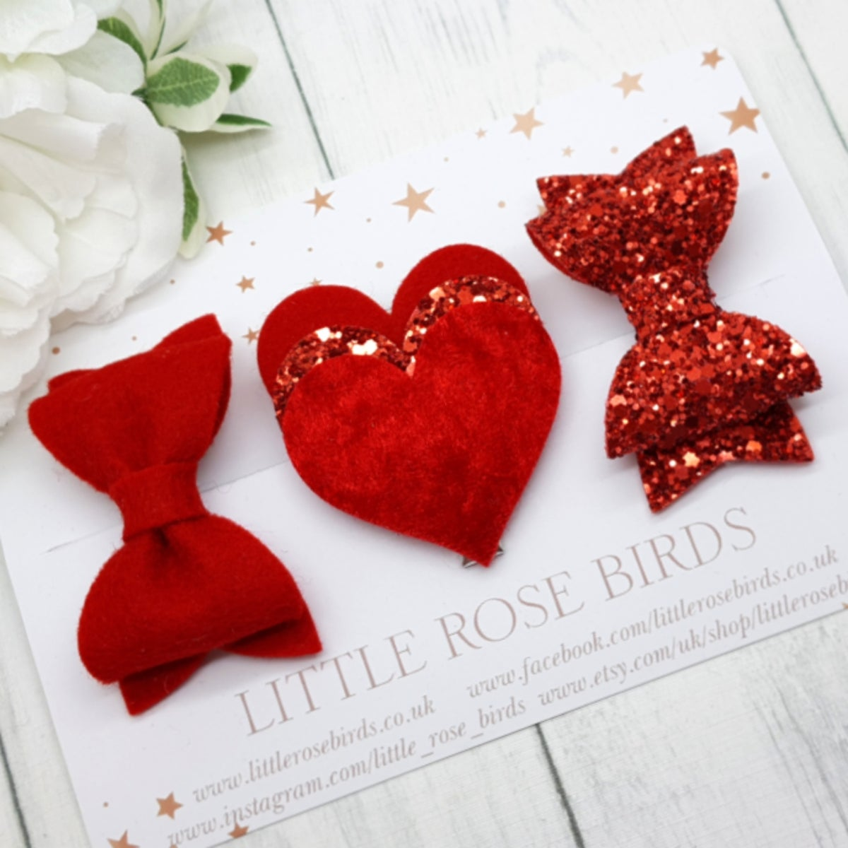 Image of Red Valentines Heart Bow Set
