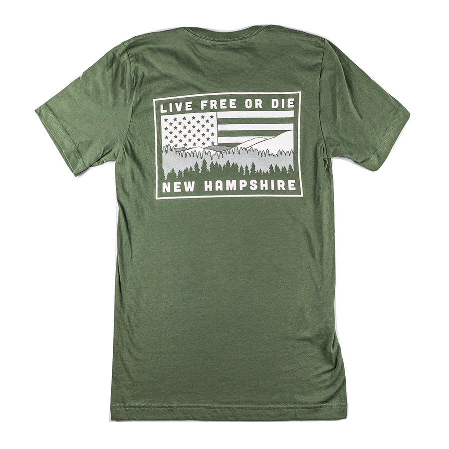 Image of NH Mountain &  Flag T-shirt- Military Green