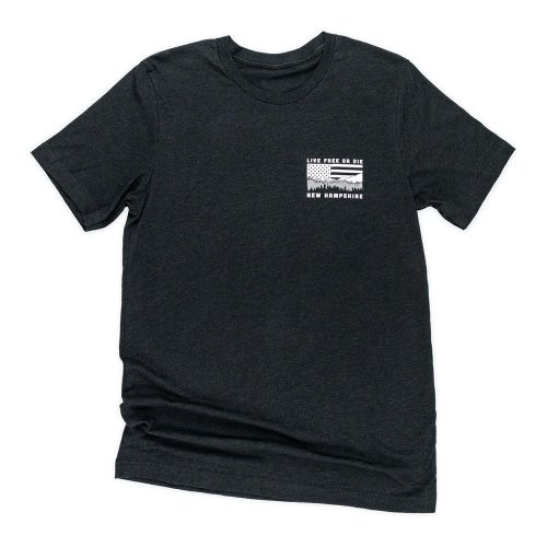 Image of NH Mountains & Flag T-shirt- Black Heather